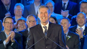 Manitoba's premier-elect Brian Pallister speaks to supporters after his election win on Tuesday, April 19, 2016.