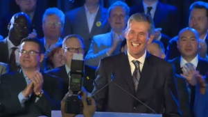 In a speech to party faithful after his resounding majority victory, Brian Pallister reiterated his promise to lower tax rates and improve services.