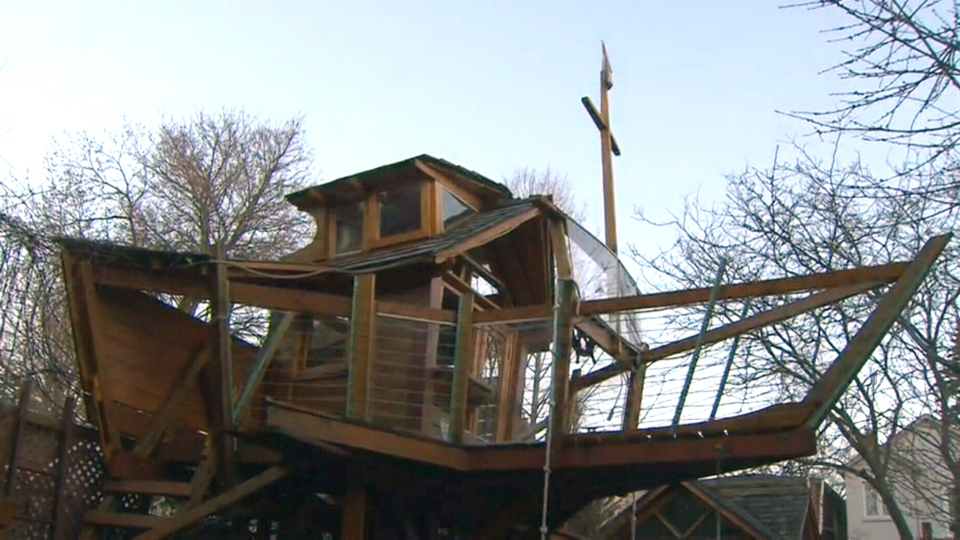 John Alpeza has been ordered to remove this treehouse boat he built in the backyard of his Toronto property.