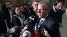 Brad Wall speaks to media one day after the Saskatchewan Party's electoral victory at the Legislative Building in Regina, Saskatchewan on Tuesday April 5, 2016. (THE CANADIAN PRESS/Michael Bell)