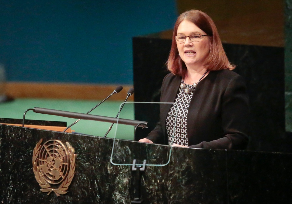Canada's Minister of Health Jane Philpott speaks, while addressing the United Nations special session on global drug policy, Wednesday April 20, 2016 at U.N. headquarters. (AP / Bebeto Matthews)