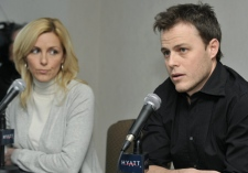 V�ronique Cloutier, producer and president of Novem, and Louis Morissette, executive producer in charge of content for Bye Bye 2008, speak at a press conference in Montreal Friday, Jan. 9, 2009. (Graham Hughes / THE CANADIAN PRESS)