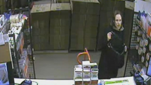 The case of Andrea Giesbrecht, shown in this security camera footage, is scheduled in court Thursday morning. (File image)