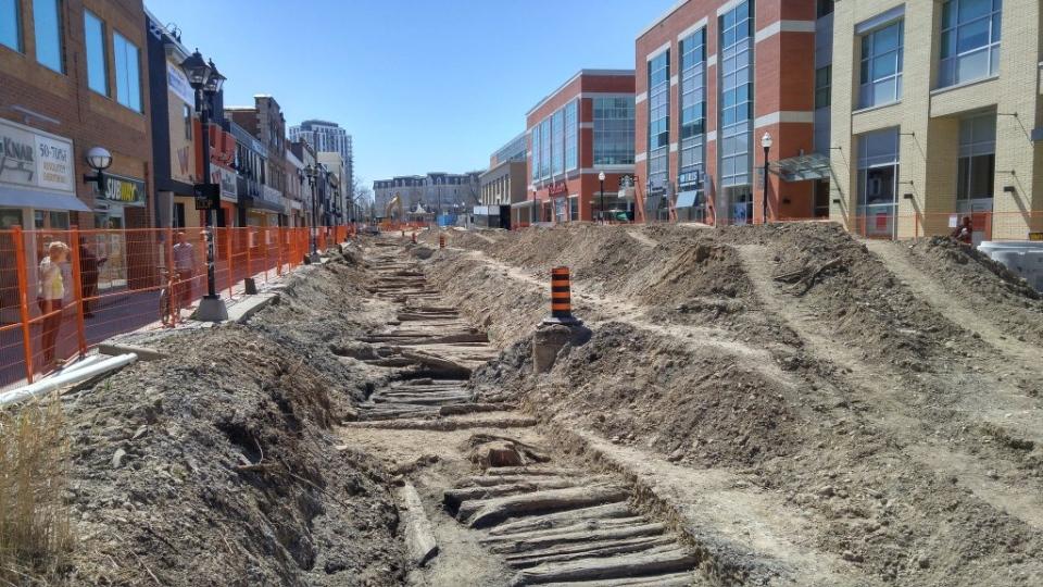 The old corduroy road buried beneath King Street in uptown Waterloo is shown on Wednesday, April 20, 2016. (Dan Lauckner / CTV Kitchener)