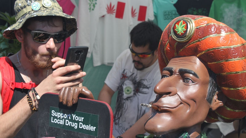 Cannabis culture was on display as thousands of pro-pot protesters met at Sunset Beach to mark the annual high holiday. April 20, 2016. (CTV/Andrew Weichel)