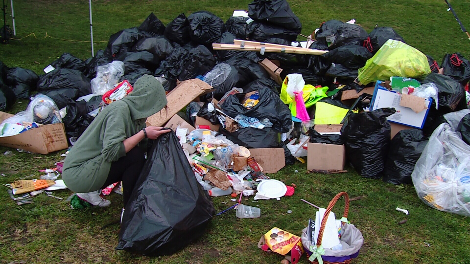 Last year's 4/20 event at Sunset Beach left behind several piles of garbage. April 21, 2016. (CTV)
