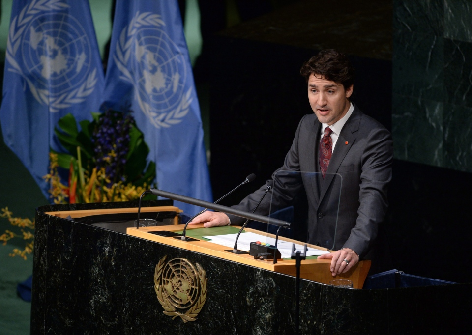 Prime Minister Justin Trudeau speaks at the signing ceremony for the Paris Agreement on climate change at the United Nations headquarters in New York on Friday, April 22, 2016. (Sean Kilpatrick / THE CANADIAN PRESS)