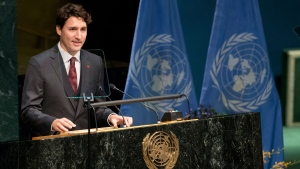 Canadian Prime Minister Justin Trudeau speaks during the Paris Agreement on climate change ceremony, Friday, April 22, 2016 at U.N. headquarters. (AP Photo/Mary Altaffer)