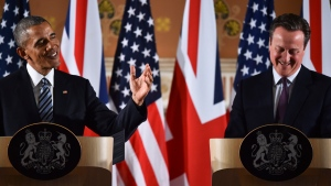 US President Barack Obama and Britain's Prime Minister David Cameron, right, hold a media conference at the Foreign and Commonwealth Office in central London, Friday, April, 22, 2016, following their talks at Downing Street. (Ben Stansall / Pool via AP)