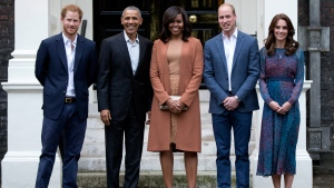 U.S. President Barack Obama and first lady Michelle Obama stand for a photograph with Duke and Duchess of Cambridge and His Royal Highness Prince Harry of Wales at Kensington Palace in London, on April 22, 2016. (Carolyn Kaster / AP)