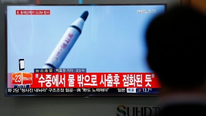 News program shows North Korea missile launch