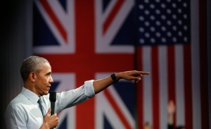 U.S. President Barack Obama takes a question as he speaks to a town hall meeting at Lindley Hall, the Royal Horticultural Society, in London on April 23, 2016. (Matt Dunham / AP Photo)