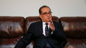 North Korea's Foreign Minister Ri Su Yong answers questions during an interview, Saturday, April 23, 2016, at the country's Permanent Mission to the United Nations in New York. (AP / Julie Jacobson)
