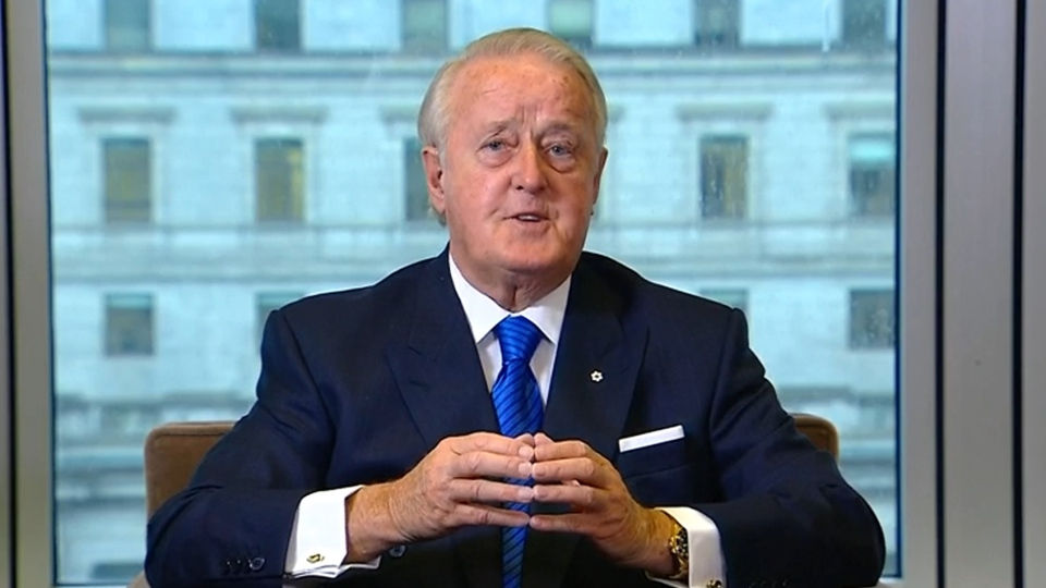 Former prime minister Brian Mulroney speaks on CTV's Question Period on April 24, 2016.