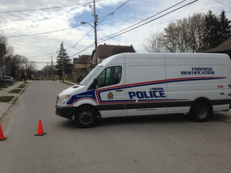 Forensic Identification Unit on scene at a stabbing at Grey and Clarence Streets on Sunday, April 24, 2016 that left a woman in serious condition.  (Gerry Dewan / CTV London)