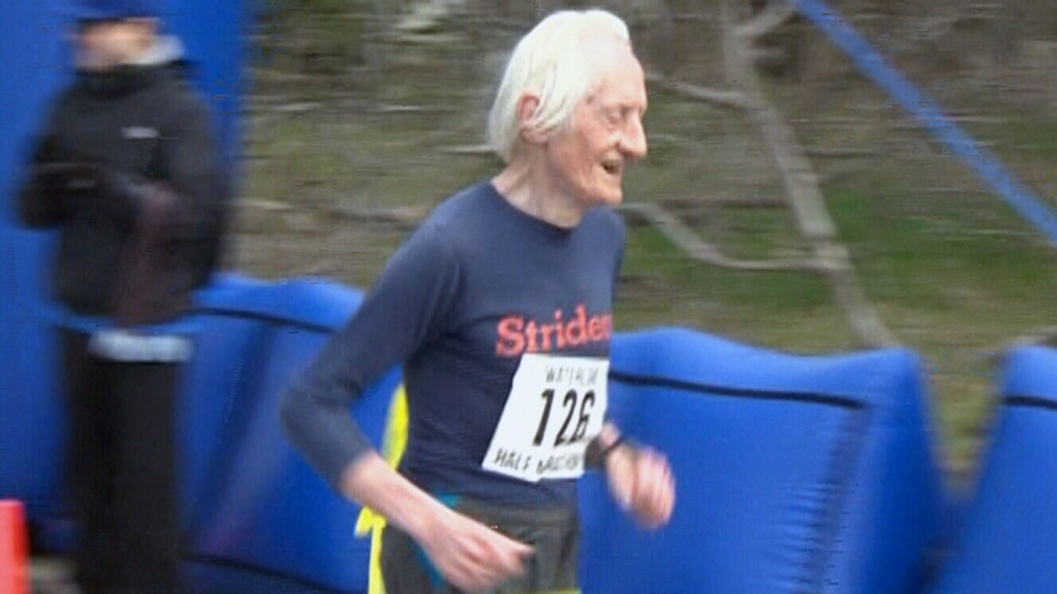 Runner Ed Whitlock, 85, participates in a half-marathon in Waterloo, Ont. on Sunday, April 24, 2016.
