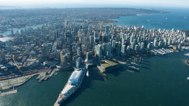 Downtown Vancouver is seen from Chopper 9. (Pete Cline / CTV Vancouver)