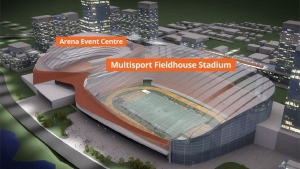 CalgaryNEXT project is shown in this computer image. Calgary Flames president Ken King announced an ambitious plan Tuesday for a new hockey arena, a covered football stadium for the CFL's Calgary Stampeders and a sports field house. (THE CANADIAN PRESS / HO)