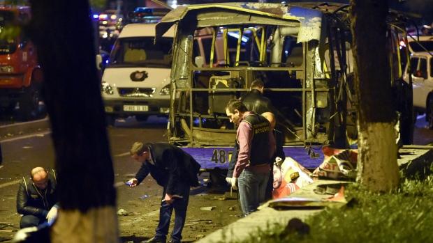 Site of a bus explosion in Yerevan, Armenia