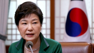 In this April 18, 2016 file photo, South Korean President Park Geun-hye speaks during a regular meeting with her top aides at the presidential house in Seoul, South Korea. (Baek Seung-ryul / Yonhap)