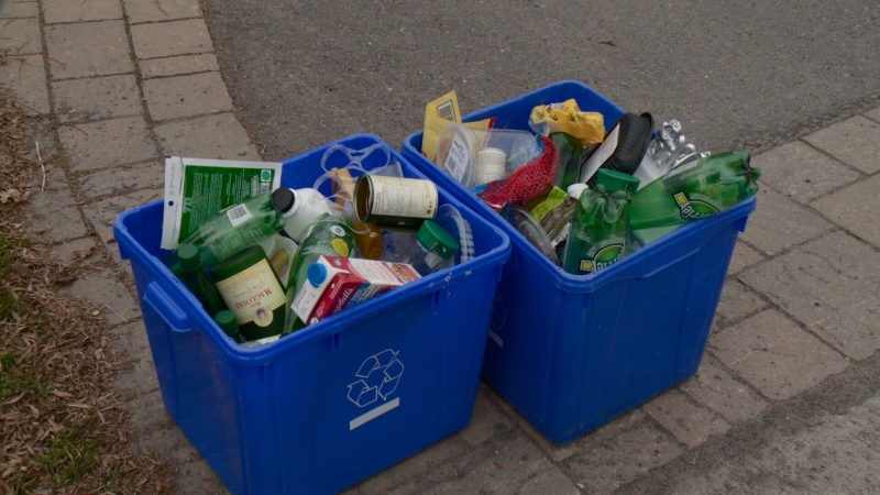 Recycle bins sit by the curb in Ottawa's Manor Park neighbourhood, April 26, 2016