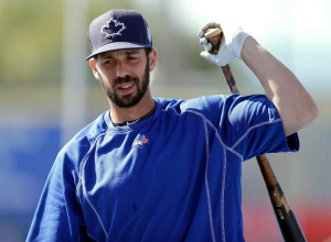 In this March 23, 2016, file photo, Toronto Blue Jays' Chris Colabello loosens up before a spring training baseball game against the New York Mets in Dunedin, Fla. (Chris O'Meara / AP Photo)