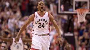 Toronto Raptors' Norman Powell (24) runs back up court after the Raptors scored against the Indiana Pacers during second half NBA playoff basketball action in Toronto on April 26, 2016. (Frank Gunn / The Canadian Press)