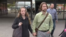 Collet and David Stephan leave court