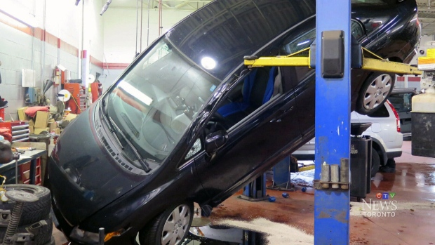 Ctv toronto car falls off hoist during oil change ctv news for Used electric motor shop equipment for sale