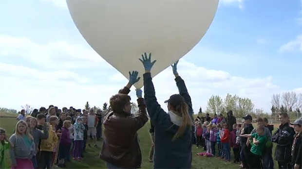 The balloon has a temperature sensor, pressure sensor, and a humidity sensor and balloons like this are launched every day to collect weather information.