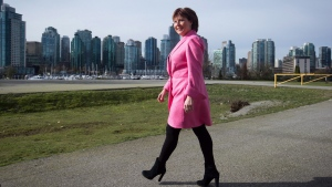 British Columbia Premier Christy Clark arrives to make an announcement about shadow flipping in the real estate industry, in Vancouver, B.C., on Friday March 18, 2016. (THE CANADIAN PRESS/Darryl Dyck)