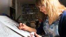 Teva Harrison works on her graphic novel