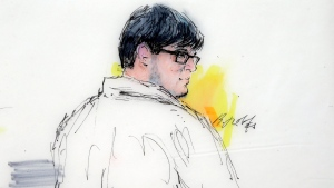FILE - In this courtroom sketch, Enrique Marquez Jr. appears in federal court in Riverside, Calif. on Dec. 21, 2015. (AP / Bill Robles)