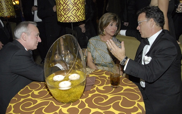 Tom Hanks talks with television personality Rikki Klieman and Los Angeles Police Chief William Bratton at the HBO Golden Globes after-party in Beverly Hills, Calif., Sunday, Jan. 11, 2009. (AP / Dan Steinberg)
