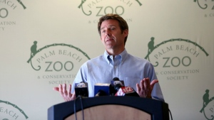 Palm Beach Zoo President Andrew Aiken speaks in West Palm Beach, Fla., about the tiger attack that fatally mauled keeper Stacey Konwiser on April 15 in a press conference on Thursday, April 28, 2016. (Richard Graulich / The Palm Beach Post)