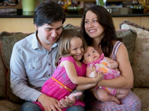 In this 2014 file photo, concert pianist Vadym Kholodenko poses with his wife Sofya Tsygankova and daughters Nika, left, and Michela, at their home in Fort Worth, Texas. Tsygankova has been charged in the March 2016 death of her two daughters. The Tarrant County medical examiner's office released autopsy reports Thursday, April 28, 2016, saying the two girls died of asphyxia. (Joyce Marshall/Star-Telegram via AP, File)