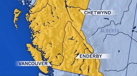 A CTV map details the locations of two avalanches, one in Chetwynd and another in Enderby, B.C.