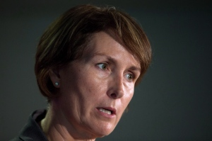 B.C. Representative for Children and Youth Mary Ellen Turpel-Lafond speaks during a news conference after releasing a joint report with the B.C. Information and Privacy Commissioner about cyberbullying, in Vancouver, B.C., on November 13, 2015. (Darryl Dyck / The Canadian Press)