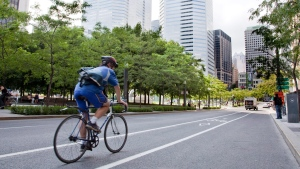 A cyclist rolls down a bicycle lane in downtown Montreal Friday, August 13, 2010. THE CANADIAN PRESS/Paul Chiasson