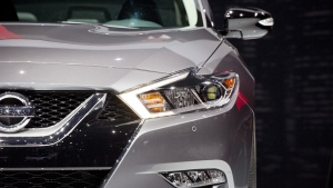 In this April 2, 2015 file photo, the 2016 Nissan Maxima SR is presented at the New York International Auto Show, in New York. (AP Photo/Mark Lennihan, File)