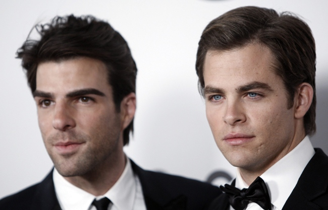 Zachary Qunito, left, and Chris Pine, stars of the new 'Star Trek,' arrive at the NBC Golden Globes after-party in Beverly Hills, Calif., Sunday, Jan. 11, 2009. (AP / Matt Sayles)