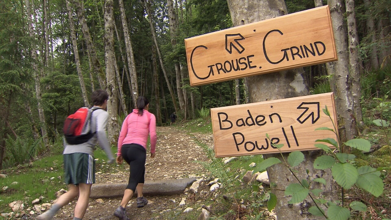 Hikers head up the Grouse Grind trail which, along with another trail on North Vancouver's Grouse Mountain, will receive a $2.4 million upgrade, as announced by the Trudeau government on Aug. 6, 2020.