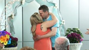 Tiffany Evans and Brad Iliffe tied the knot in the Saint John Airport on Saturday.