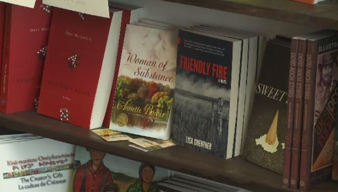 Books by Saskatchewan authors on display at SK Books & Collectibles in Regina
