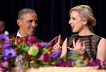 President Barack Obama, left, talks with Carol Lee, right, of The Wall Street Journal, at the annual White House Correspondents' Association dinner at the Washington Hilton in Washington, Saturday, April 30, 2016. (AP / Susan Walsh)