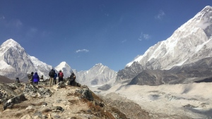This April 9, 2016 photo shows snow-capped peaks in the Himalayas, just north of the village of Lobuche, Nepal and about a three-hour walk from Everest Base Camp. (AP / Karin Laub)
