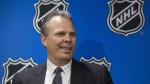 Kevin Cheveldayoff, general manager of Winnipeg Jets, speaks to the media after winning the second selection of the 2016 NHL Draft Lottery in Toronto on Saturday April 30, 2016. THE CANADIAN PRESS/Chris Young