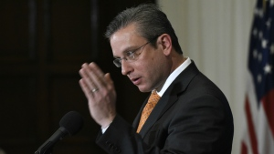 Puerto Rico Gov. Alejandro Javier Garcia Padilla speaks at a luncheon at the National Press Club in Washington on Dec. 16, 2015. (AP / Sait Serkan Gurbuz)