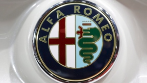 An Alfa Romeo logo is displayed at the New York International Auto Show in New York, on April 17, 2014. (Seth Wenig / AP)