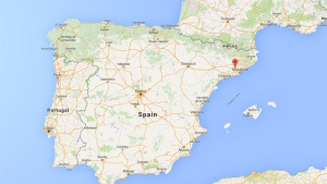 A red pin marks the area of Spain where the footprint was found